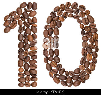 Arabic numeral 10, ten, from coffee beans, isolated on white background - Stock Photo