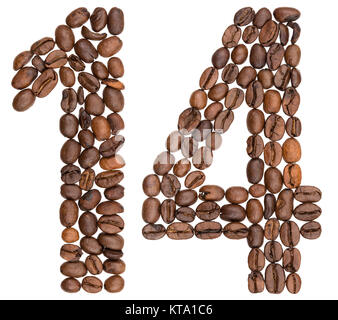 Arabic numeral 14, fourteen, from coffee beans, isolated on white background - Stock Photo