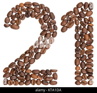 Arabic numeral 21, twenty one, from coffee beans, isolated on white background - Stock Photo