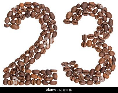 Arabic numeral 23, twenty three, from coffee beans, isolated on white background - Stock Photo