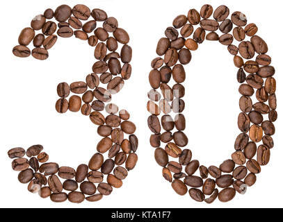 Arabic numeral 30, thirty, from coffee beans, isolated on white background - Stock Photo