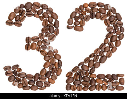 Arabic numeral 32, thirty two, from coffee beans, isolated on white background - Stock Photo