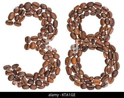 Arabic numeral 38, thirty eight, from coffee beans, isolated on white background - Stock Photo