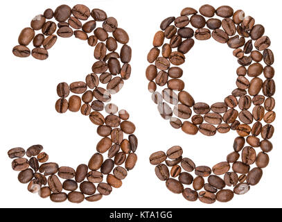 Arabic numeral 39, thirty nine, from coffee beans, isolated on white background - Stock Photo