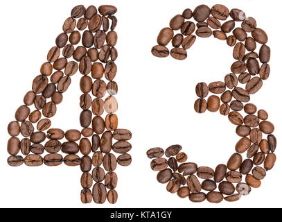 Arabic numeral 43, forty three, from coffee beans, isolated on white background - Stock Photo