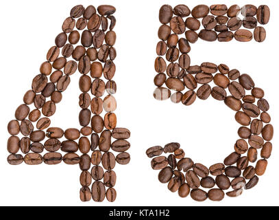 Arabic numeral 45, forty five, from coffee beans, isolated on white background - Stock Photo