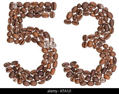 Arabic numeral 53, fifty three, from coffee beans, isolated on white background - Stock Photo