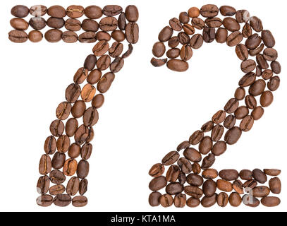 Arabic numeral 72, seventy two, from coffee beans, isolated on white background - Stock Photo