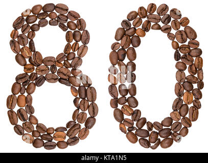 Arabic numeral 80, eighty, from coffee beans, isolated on white background - Stock Photo