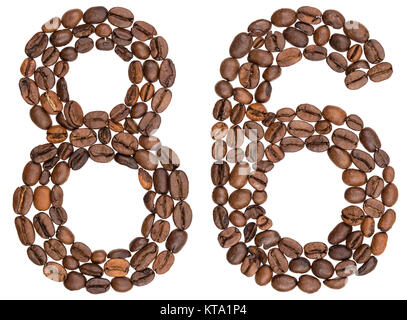 Arabic numeral 86, eighty six, from coffee beans, isolated on white background - Stock Photo
