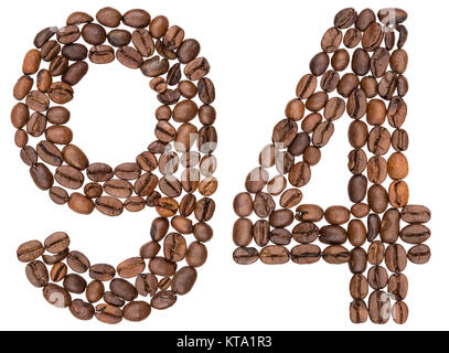 Arabic numeral 94, ninety four, from coffee beans, isolated on white background - Stock Photo
