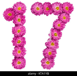 Arabic numeral 17, seventeen, from flowers of chrysanthemum, isolated on white background - Stock Photo