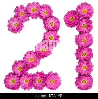 Arabic numeral 21, twenty one, from flowers of chrysanthemum, isolated on white background - Stock Photo