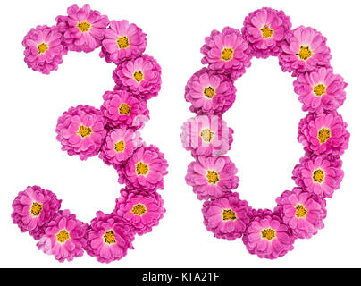 Arabic numeral 30, thirty, from flowers of chrysanthemum, isolated on white background - Stock Photo