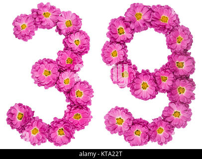 Arabic numeral 39, thirty nine, from flowers of chrysanthemum, isolated on white background - Stock Photo