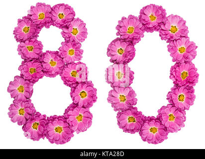 Arabic numeral 80, eighty, from flowers of chrysanthemum, isolated on white background - Stock Photo