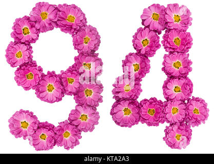 Arabic numeral 94, ninety four, from flowers of chrysanthemum, isolated on white background - Stock Photo
