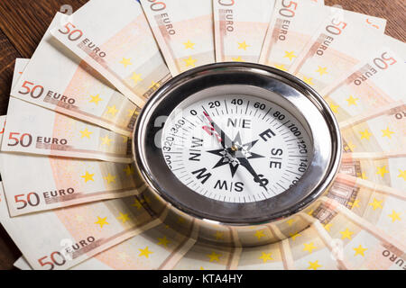 Compass On Euro Note - Stock Photo
