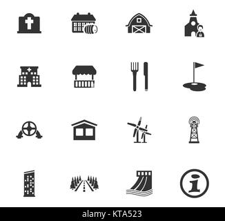 Infrastucture of the city icons set - Stock Photo
