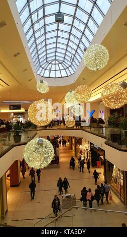 Christmas decorations at Markville plaza mall in Toronto, Canada - Stock Photo