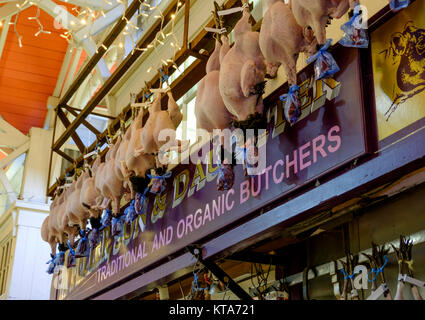 Around the University City of Oxford December 2017 In the Covered Market M Feller Butcher - Stock Photo