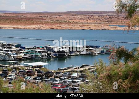 Marina on Lake Powell, Glen Canyon National Recreation Area, Arizona - Stock Photo