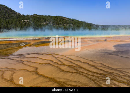 The colrful Grand Prismatic Spring at Yellowstone National Park Wyoming USA against a blue sky - Stock Photo