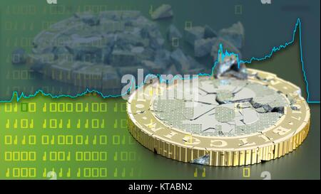 Conceptual artwork representing the bursting of bitcoin cryptocurrency bubble. Bitcoin is a type of digital currency, - Stock Photo