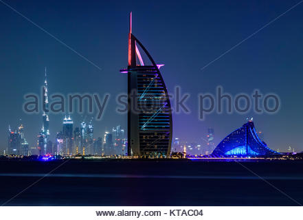 View of Burj Al Arab, Burj Khalifa, and Jumeirah Beach Hotel from Palm Jumeirah. - Stock Photo