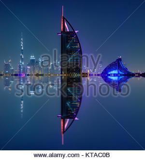 View of Burj Al Arab, Burj Khalifa, and Jumeirah Beach Hotel from Palm Jumeirah. - Stock Photo