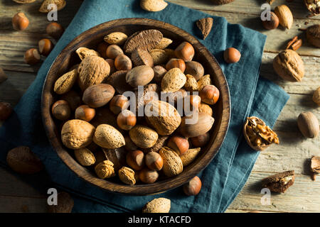 Whole Shelled Organic Mixed Nuts with Walnuts Almonds Pecans and Filberts - Stock Photo