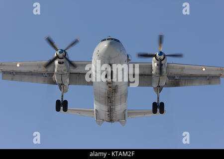 Aircraft An-26 is on landing, Rostov-on-Don, Russia, 7 February 2012 - Stock Photo