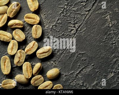 top view of green coffee beans - Stock Photo