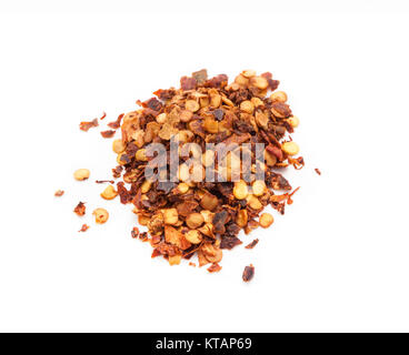 Red hot chili flakes, isolated on white background - Stock Photo