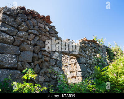 abandoned rural house after volcano Etna eruptio - Stock Photo