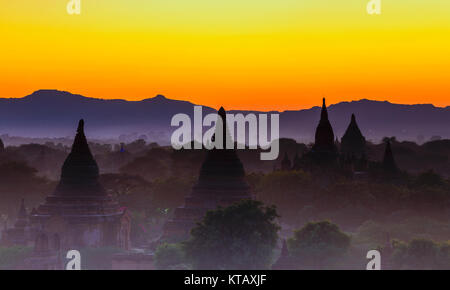 Bagan temple during golden hour - Stock Photo
