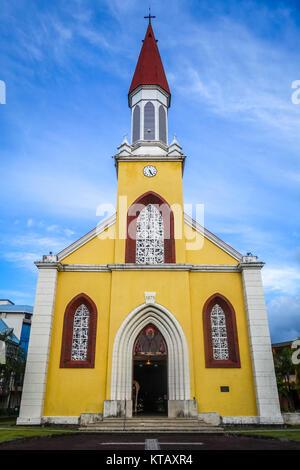 Papeete city Cathedral, Tahiti island - Stock Photo