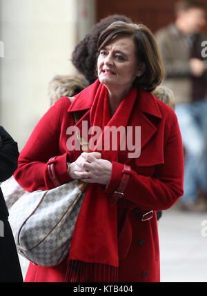 London, UK. 18th December, 2017. Cherie Blair listening to children's Christmas carol performance outside the BBC - Stock Photo