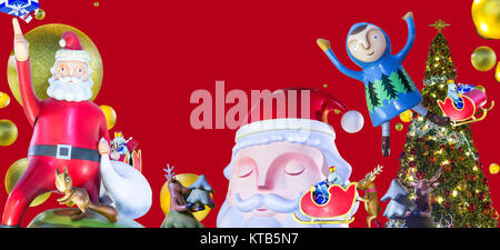 merry christmas and happy new year with santa claus and reindeer and lighting christmas tree - Stock Photo