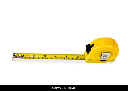 Yellow rolling meter on the white background - Stock Photo