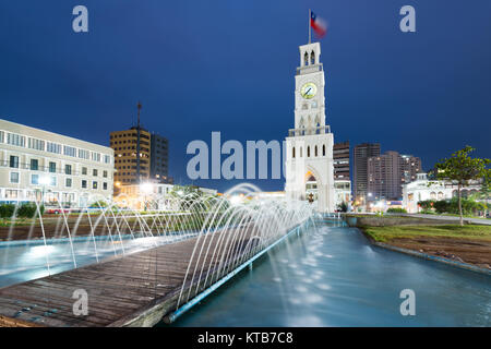 Iquique, Tarapaca Region, Chile - The clock tower of Iquique, a traditional building built in 1878 at downtown in - Stock Photo