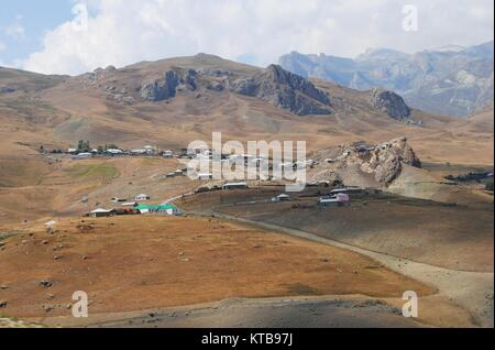Mountainous village of Cek in Azerbaijan. - Stock Photo