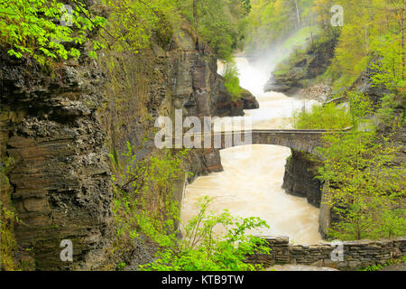 Gorge Trail crossing at Lower Falls, Genesee, River, Letchworth State Park, New York, USA - Stock Photo
