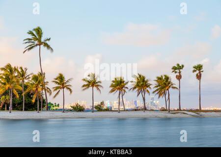 Beautiful tropical beach in Miami, Florida, United States - Stock Photo