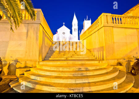 Town of Supetar church evening view - Stock Photo