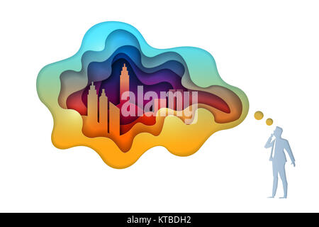 Paper craft style business concept illustration - Stock Photo
