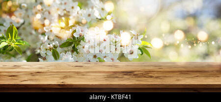 White cherry blossoms in spring with sun and bokeh in front of a wooden table for a concept - Stock Photo