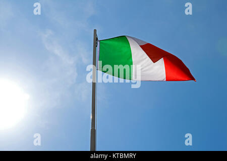 national flag of italy on a flagpole - Stock Photo