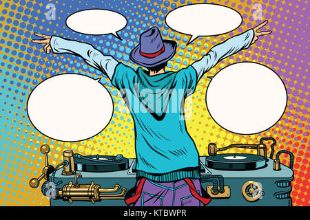 DJ party vinyl panel, view from behind - Stock Photo