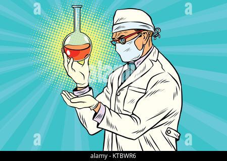 Scientist in mask analyzes laboratory flask with liquid - Stock Photo